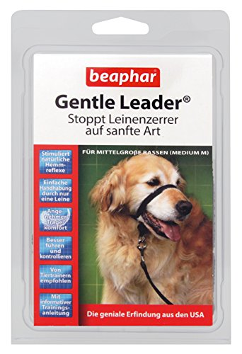 Gentle Leader® für Hunde | Erziehnungshilfe für Leinenzerrer | Besser führen & kontrollieren | Trainings-Halsband für Hunde | Farbe: Schwarz | Größe M