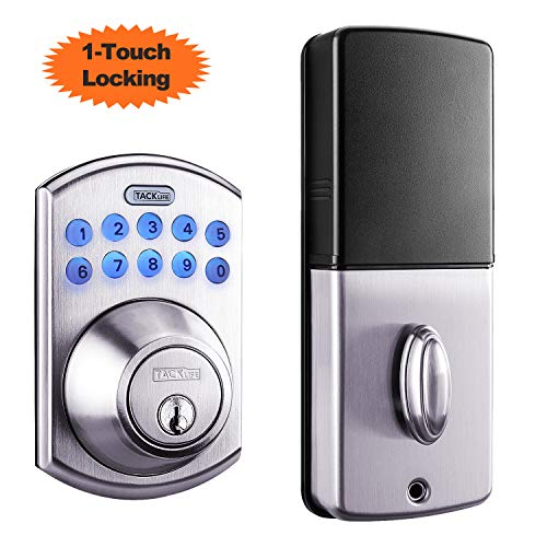 Tacklife Keypad Electronic Deadbolt Door Lock, Keyless Entry Door Lock with 1-Touch Motorized...
