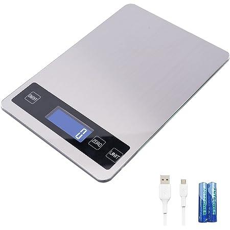 Balance de Cuisine Digitale Electronique,Balance Alimentaire Numérique de Précision en Acier Inoxydable avce 6 unité, Balance de 15 kg / 1 g, Grande Surface de pesée et Tare Fonction,USB /Piles