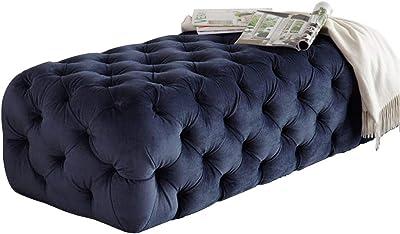 Color : Blue XZPENG Moretta Velluto Imbottito ottomano//Panca con Pulsante Profonda Trapunto Quadrato Legno Solido Telaio Moderno |Contemporary Design