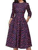 Vestido de Noche o Fiesta para Mujer Estilo Informal Manga Larga Cintura Alta Falda en Trapecio Estampado Floral Estilo Vintage (Rojo, L)