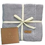 Babydecke Baumwolle aus * 100% * GOTS BIO Baumwolle grau mit Bordüre für Mädchen/Junge Strickdecke Baby Decke Baumwolldecke Strick Wolle Kinderwagen Kuscheldecke Erstlingsdecke Wolldecke Jungs