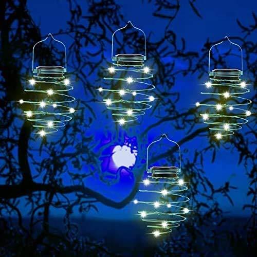 KOSHSH Paquete 4 Luces solares Espiral, linternas Creativas Hierro y Arte, lámpara Colgante LED para jardín al Aire Libre, Patio, Porche, Camino, Yarda, Cadena Luces, decoración, 80 Luces LED