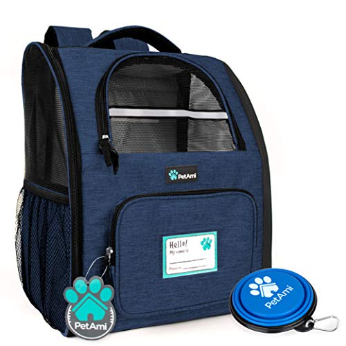 PetAmi Deluxe Pet Carrier Backpack for Small Cats and Dogs, Puppies | Ventilated Design, Two-Sided Entry, Safety Features and Cushion Back Support | for Travel, Hiking, Outdoor Use (Heather Navy)