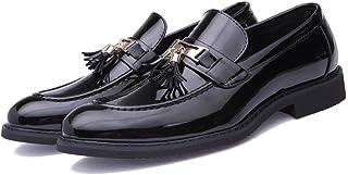 ee6b7b17a719df Apragaz Uomo Pelle Verniciata Oxfords Dress Shoes Mocassini Slip-On con  Frange alla Moda Scarpe