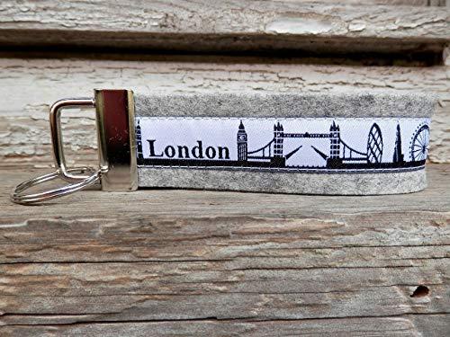 Schlüsselanhänger Schlüsselband Filz hellgrau London Skyline schwarz weiß Geschenk!