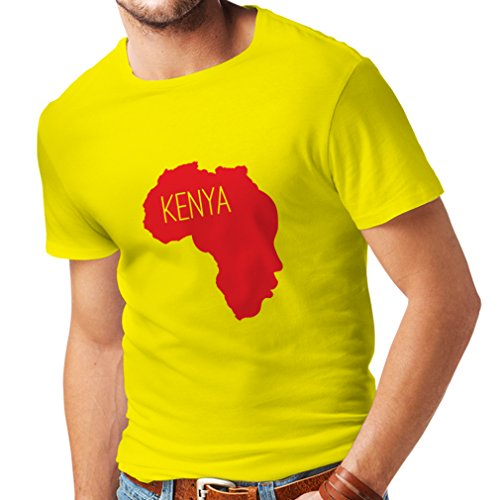 lepni.me Camisetas Hombre Salvar Kenia - Camisa política, Refranes de la Paz (X-Large Amarillo Rojo)