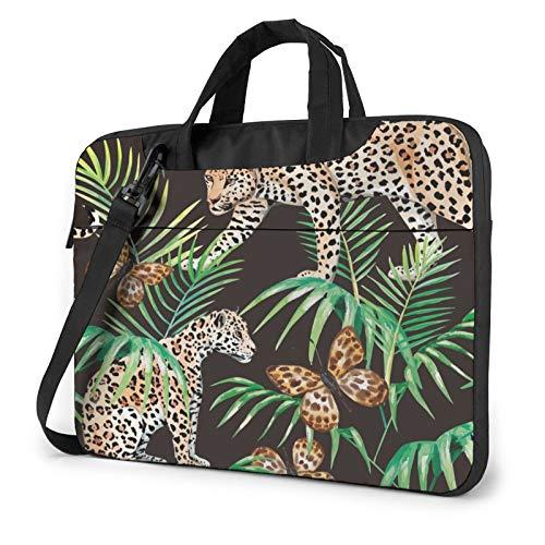 Laptop Messenger Gold Black Jungle Butterfly Panther Shoulder Bag Briefcase Office Laptop Sleeve Case Luggage for Men Women 13 Inch