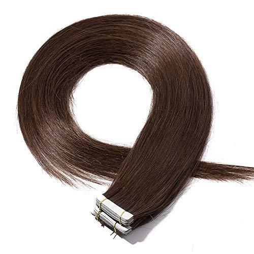 Tape Extensions Echthaar Schokobraun #4 7A Remy Haarverlängerung Tape in Klebeband Haar Glatt 20 Tressen x 4 cm breit 40g-35cm