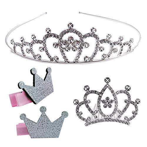 Tiara de Corona de Diamantes de Imitación para Niños Princesa Cristal Strass Tocado Se Utiliza para Fiestas de Cumpleaños, Días de Lectura