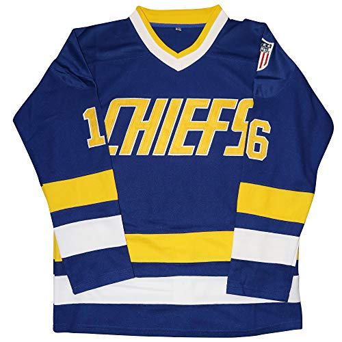 Micjersey Hanson Brothers Jersey,Charlestown Chiefs 16,17,18 Slap Shot Ice Hockey Movie Jersey (Blue 16, M)