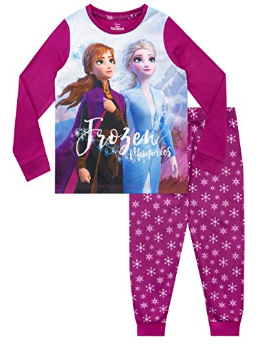 Disney Pigiama a Maniche Lunghe per Ragazze Frozen Il Regno di Ghiaccio Viola 5-6 Anni