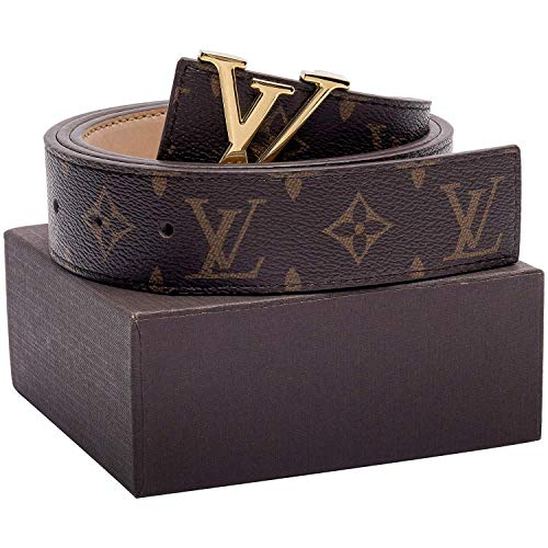 Echtes Leder Fashion Metallschnalle Gürtel, Gesamtlänge 93cm, passt Taille 70cm-80cm, Unisex Gürtel für Männer/Frauen Casual Business