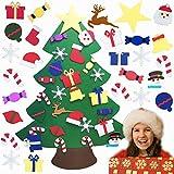 TATAFUN Árbol de Navidad de fieltro, árboles de Navidad, 26 adornos desmontables, regalos de Navidad para niños, decoración de la pared de la puerta