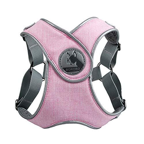 Ailova Arnés para perro sin asfixia, arnés flexible de malla para animales de compañía, chaleco para perros, reflectante, para perros pequeños y grandes (tamaño grande), color rosa
