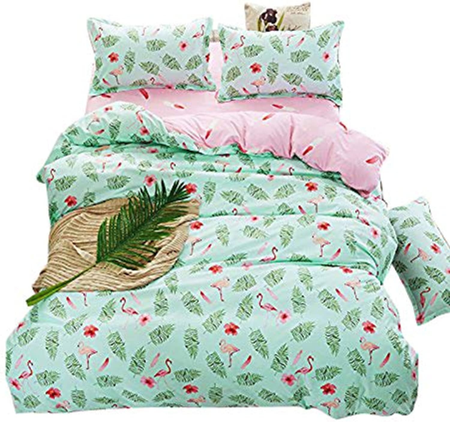 4pcs Set Beddingset Duvet Cover Flat Sheet Pillowcase No Comforter HM Twin Full Queen Animal Cow Bird Design (Full, Leaf Bird, Green)