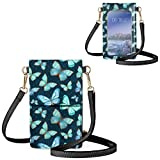 UZZUHI Aqua Green Butterfly Mobile Phone Bag Clear Window Cellphone Purse with Strap Sturdy Cell Phone Pouch Fits Phone Under 6.5 Inch