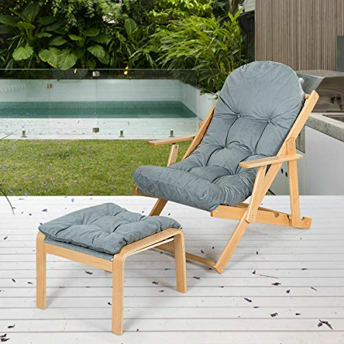 Stark Item Folding Recliner Adjustable Lounge Chair Padded Armchair Patio Deck w/Ottoman