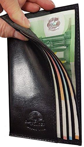 CLAIRE-FONCET Kellner Brieftasche, Kellnerin Brieftasche, Brieftasche mit 4 festen Trennklappen, Geldbörse, aus Echtem Premium Büffelleder, dick und unbiegsam, Kaffee Kellner, Bar, Brauerei, Busfahrer