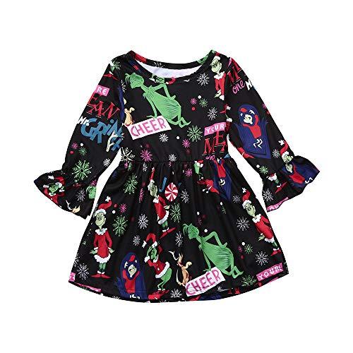 Cuteelf Kinder Langarm Kleid Trompete Ärmel Weihnachten Kleid Weihnachten Kleinkind Kind Baby Mädchen Cartoon Prinzessin Kleid Kleidung Full Print bequemen Rock Cute Fashion