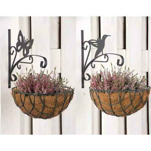 wohnen-freizeit 2tlg. Set Haken für Blumentopf Eisen 29 x 2 x 30 cm Blumenampelhaken Schmetterling, Vogel Blumenampel Blumenhaken