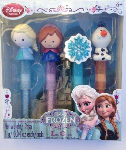 Disney La Reine des Neiges - paillettes brillant à lèvres ensemble - topper de Elsa, Anna, Olaf et un flocon de neige scintillant