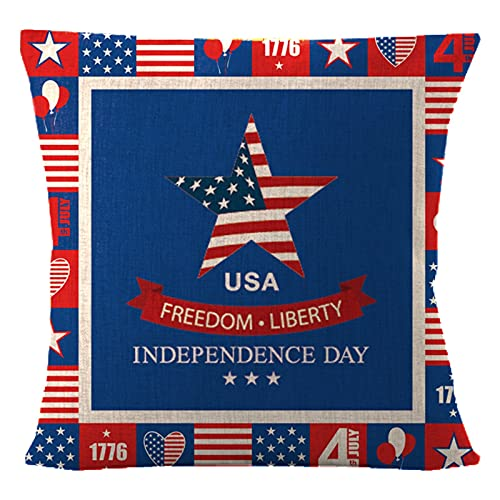 Throw Pillow Covers, Independence Day Linen Pillow Case, Retro Wood Patriotic American Flag Home Decor Pillowcase July 4th Independence Day Cotton Linen Throw Pillow Case, Dark Color Cushion Cover