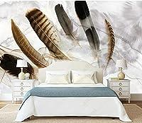壁の壁画 壁紙 ウォールカバー 水彩手描きの羽 壁画 壁紙 ベッドルーム リビングルーム ソファ テレビ 背景 壁 壁面装飾のための,200x140cm