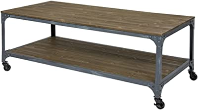 Amazoncom Industrial Coffee Table With Wheels Rolling Wood