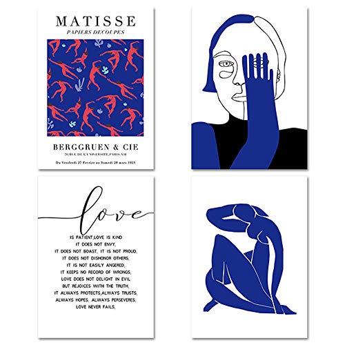 Moderno Matisse Decoracion Azul Arte Abstracto Pintura Cuerpo Arte Poster Figura Pared Lienzo Impresiones Amor Citas Cuadro Inicio Decoracion 40x50cmx4 No Marco