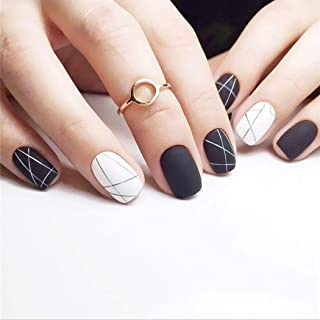 Milanco 24Pcs Matte Fake Nails Geometrical Line Nails Full Cover Medium Gel False Nails Art for Women (Black+White-Matte)