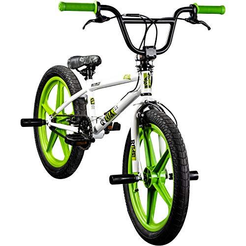 deTOX BMX 20 Zoll Rude Skyway Freestyle Bike Street Park Fahrrad viele Farben (weiß/grün)
