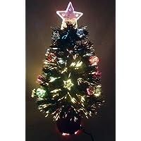 Christmas Concepts® 2FT árbol de Navidad de fibra óptica verde con estrellas y chucherías y base roja
