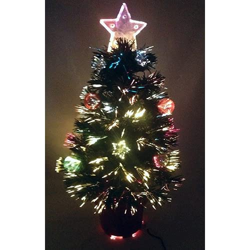 Christmas Concepts® 2FT GREEN FIBRE OPTIC CHRISTMAS TREE WITH STARS AND  BAUBLES AND RED BASE - Optic Fibre Christmas Tree: Amazon.co.uk