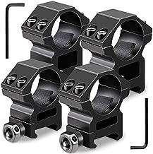 Modkin 1'' Scope Rings, 2Pcs High Profile Scope Mounts + 2Pcs Medium Profile 1 Inch Scope Rings for Picatinny/Weaver Rail - Pack of 4
