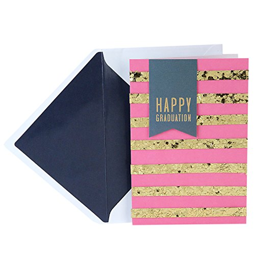 Hallmark Signature Graduation Card (Pink and Gold Glitter Stripes Fabulous)