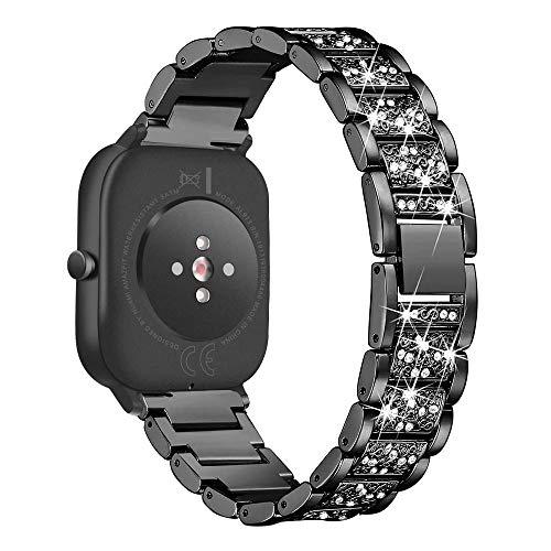 WATORY Ersatz für Amazfit GTS Armband, Quick Release Premium Edelstahl Kristall Rhinestone Diamant Uhrenarmband für Huami Amazfit Bip, Amazfit Bip lite, Amazfit GTR42mm, Schwarz