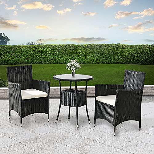 ArtLife Polyrattan Balkon Set Bayamo 2 Personen – Tisch mit Glasplatte & 2 Stühlen – Wetterfeste Balkonmöbel – Auflagen waschbar – schwarz – Creme - 3