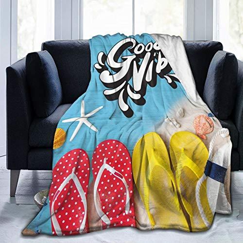 Manta mullida, chanclas y conchas marineras oceánicas sobre tablones de madera, esenciales para vacaciones de verano, ultra suave, manta para bebé, cama, cama, TV, manta de 152 x 127 cm