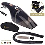Portable Vacuum Cleaner For Car | High Power 106W/12V Mini Vacuum For Car With Steel Filter | Includes Portable Car Vacuum, Carry Bag, Long 16.4ft Cord, 3 Attachments, Trash Bags & Car Detailing Wipes