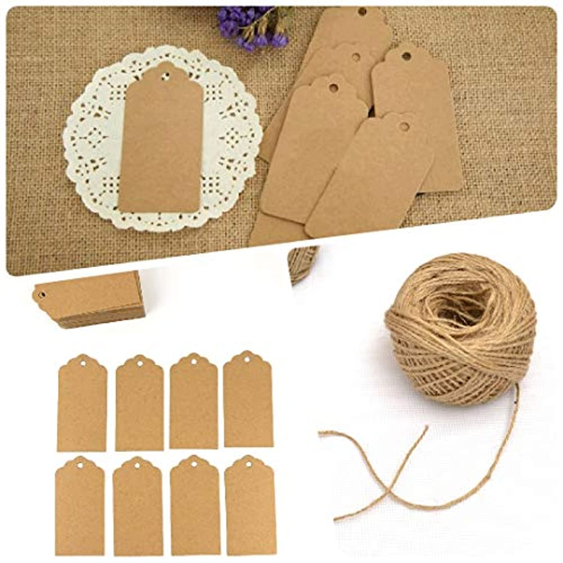 100 PCS Large Gift Tags Kraft Paper Tags for Wedding,Clothing Price Tags Hang Tags Label Tags with 100 Feet Natural Jute Twine