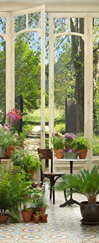 Plage Jardín De Invierno Trampantojo de Puerta, Vinilo, Multicolor, 83x3x204 cm