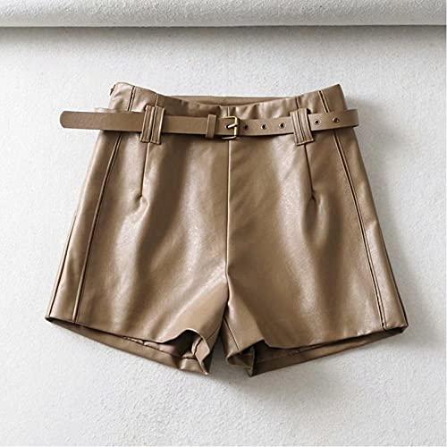 LJLLINGB Pantalones Cortos de Falda de Cuero marrón de PU para Mujer con cinturón con Cremallera Pantalones Cortos Casuales de Cintura Alta para Mujer