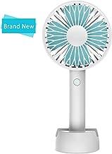 Worldseng 2019 New Mini Handheld Fan, Desktop Fan with Rechargeable Battery, USB Fans Cooling Desktop Electric Fan with Base, Mini Fan Strong Wind for Office Room Travel and Outdoor (3 Speed,White)