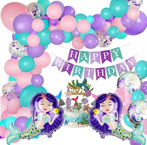 Decoración de fiesta de sirena con pancarta de feliz cumpleaños, globos de aluminio, globos y adornos de pastel para el tema de cumpleaños