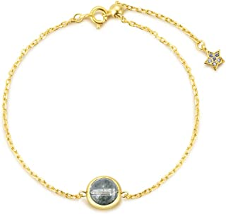 M&D Jewelry Natural Green Ghost Bracelet Female Crystal Hand String 925 Sterling Sliver Plated 14K Gold-Lucky Stone Series