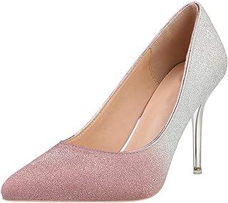 6f6034136dd7 Escarpins pour Femmes - Chaussures de Mariage en Or Rose à Talons Hauts  avec Paillettes à