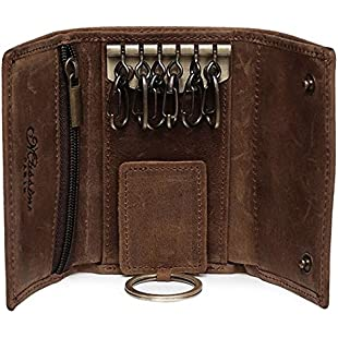 BestFire Slim Compact Leather Key Holder Wallet Pouch Retro Genuine Leather Handmade Three-Fold Keychain Key Case Bag Leather Car Key Case with 6 Hooks & 1 Car Key Hook Men Women:Peliculas-gratis