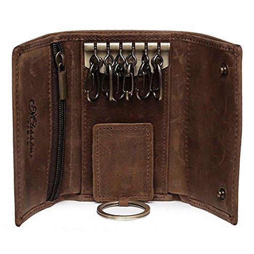 BestFire Schlüsseletui Mini Leder Schlüsselanhänger Ledergeldbörse kleine Geldbörse Damen Herren Autoschlüssel Tasche Schlüsselmäppchen Braun für 7 Schlüssel