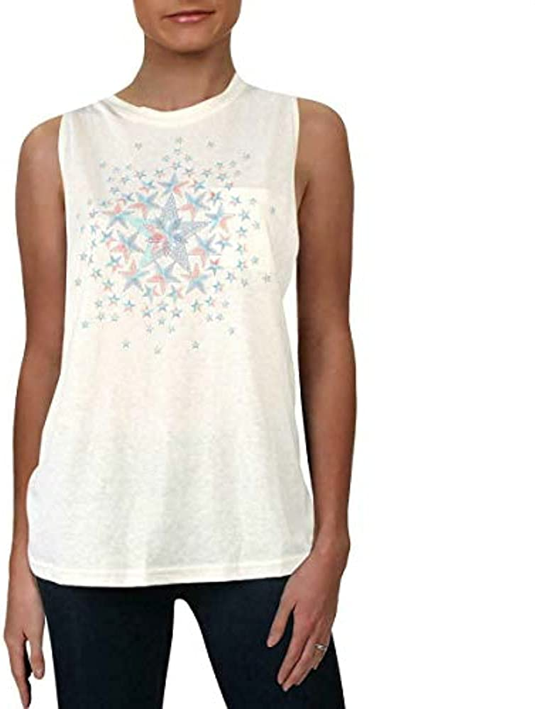 Free People Movement Women's No Sweat Tank Star Graphic Top in Ivory Combo (X-Small)